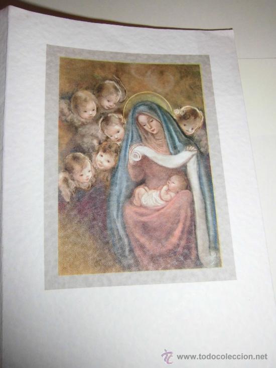 TARJETA NAVIDEÑA VIRGEN CON NIÑO RODEADOS DE ANGELES (Postales - Postales Temáticas - Navidad)