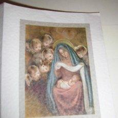Postales: TARJETA NAVIDEÑA VIRGEN CON NIÑO RODEADOS DE ANGELES. Lote 36598182