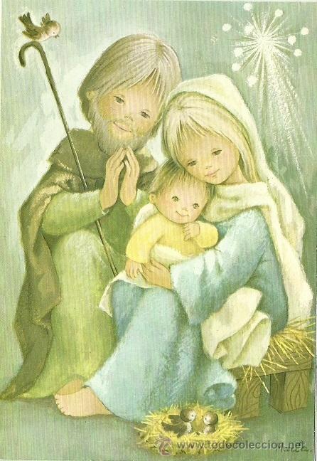 0835E - EDICIONES ORTIZ - DIPTICA 16,5X11,3 CM - ILUSTRA MARIA (Postales - Postales Temáticas - Navidad)