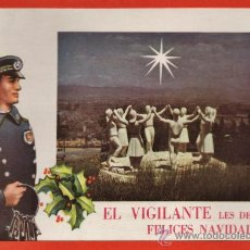 Postales: FELICITACION NAVIDEÑA / NAVIDAD - EL VIGILANTE - MONUMENTO A LA SARDANA - BARCELONA - AÑO 1966. Lote 179019866