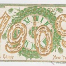 Postales: POSTAL DE NAVIDAD AÑO 1909, TARJETA FELICITACIÓN FELIZ AÑO NUEVO,. Lote 39688397