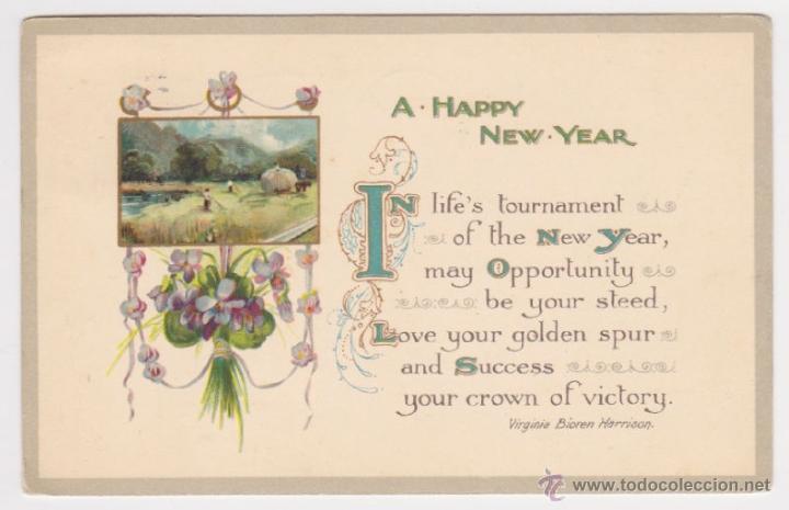POSTAL DE NAVIDAD AÑO 1912, TARJETA FELICITACIÓN FELIZ AÑO NUEVO, PAISAJE POEMA DE VIRGINIA BIOREN (Postales - Postales Temáticas - Navidad)