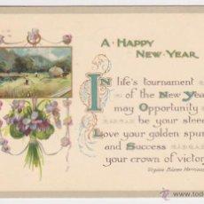 Postales: POSTAL DE NAVIDAD AÑO 1912, TARJETA FELICITACIÓN FELIZ AÑO NUEVO, PAISAJE POEMA DE VIRGINIA BIOREN . Lote 39688741
