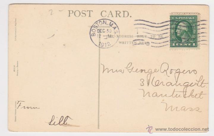 Postales: POSTAL DE NAVIDAD AÑO 1912, tarjeta felicitación FELIZ AÑO NUEVO, PAISAJE POEMA DE VIRGINIA BIOREN - Foto 2 - 39688741