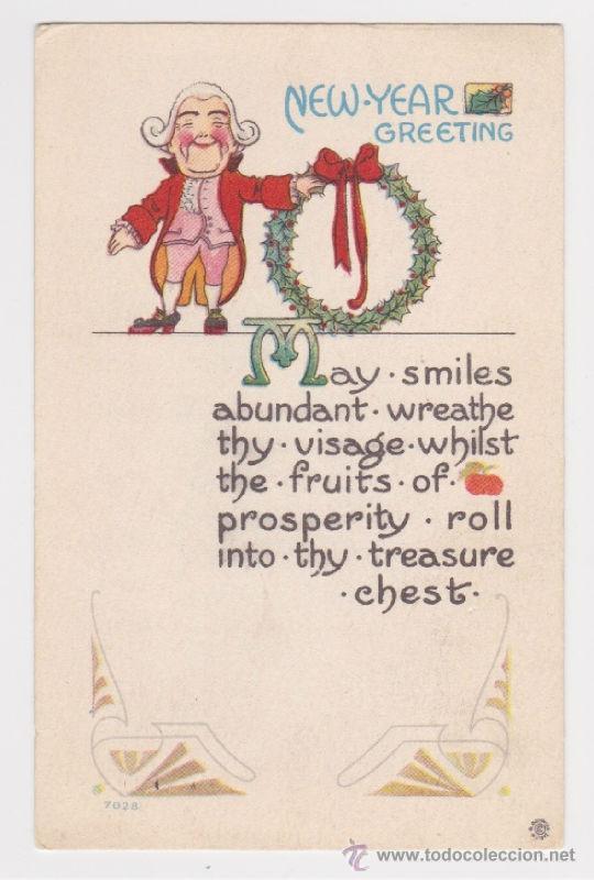 GRACIOSA POSTAL DE NAVIDAD PRINCIPIOS SIGLO XX 1913, TARJETA FELICITACIÓN FELIZ AÑO NUEVO (Postales - Postales Temáticas - Navidad)