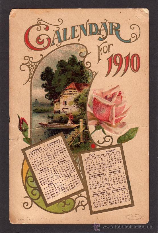 BONITA TARJETA POSTAL DE NAVIDAD , CALENDARIO AÑO 1910 (Postales - Postales Temáticas - Navidad)