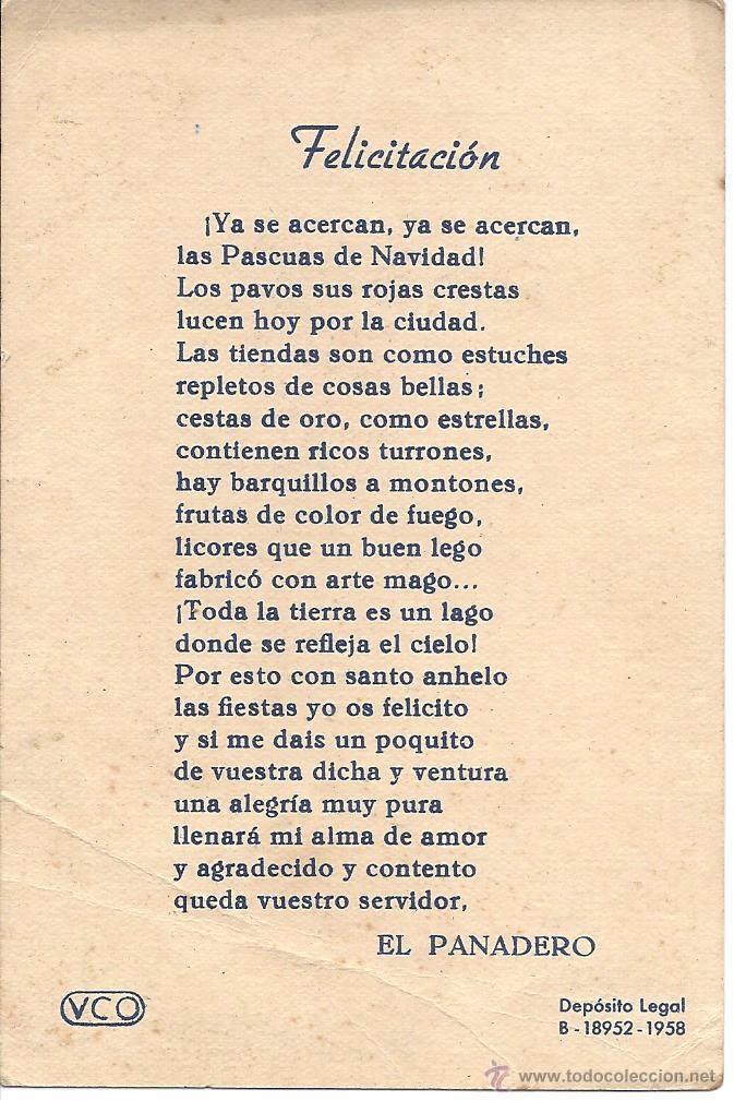 Postales: PS 0022 FELICITACIÓN GREMIOS - EL PANADERO - 1958 - Foto 2 - 41380015