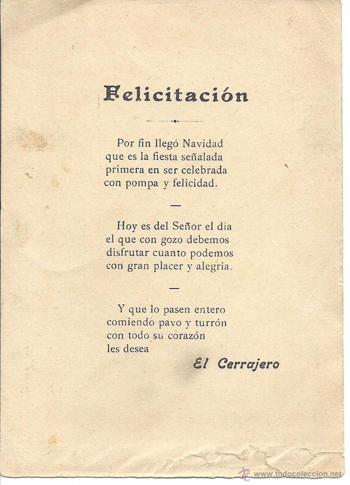 Postales: PS3502 FELICITACIÓN NAVIDEÑA DE GREMIOS 'EL CERRAJERO'. AÑOS 30 - Foto 2 - 41838107