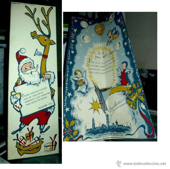 ORIGINAL FELICITACIÓN NAVIDAD PAPÁ NOEL . PRIMER SATÉLITE FAMILIAR - ORIGINAL AÑO 1958 (Postales - Postales Temáticas - Navidad)