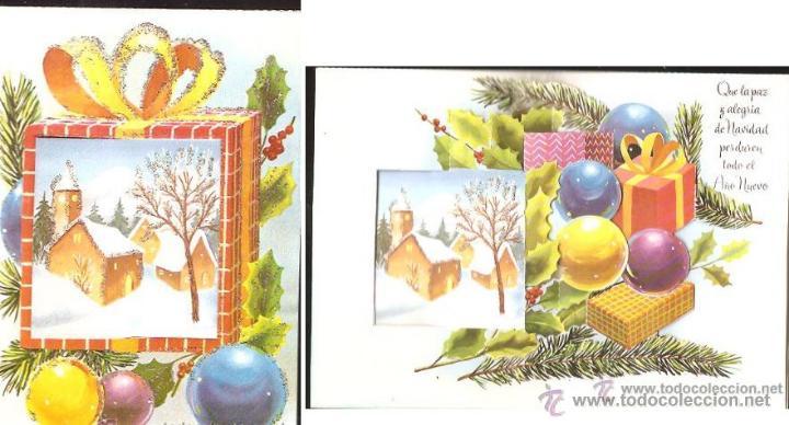 FELICITACIÓN NAVIDAD TROQUELADA ADORNADA CON PURPURINA (Postales - Postales Temáticas - Navidad)