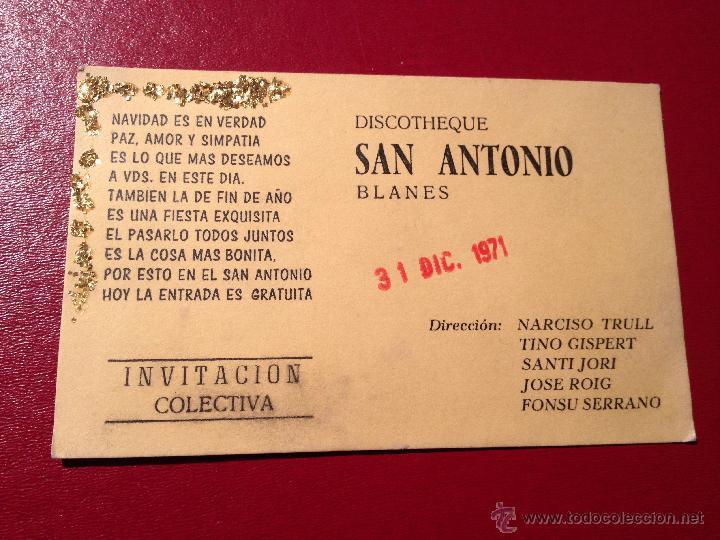 Curiosa Tarjeta Invitacion De Navidad Publicidad Discoteca San Antonio Blanes Mide 12x7 Cm