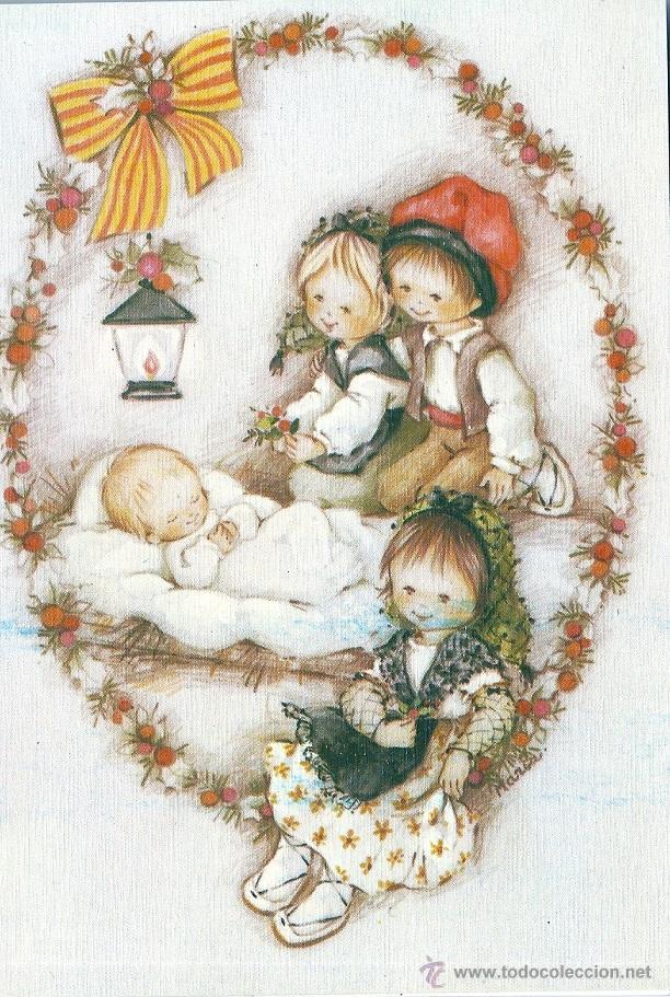0716M - EDICIONES ORTIZ SERIE X520 DIPTICA 16,5X11,5 CM - ILUSTRA MARIA (Postales - Postales Temáticas - Navidad)