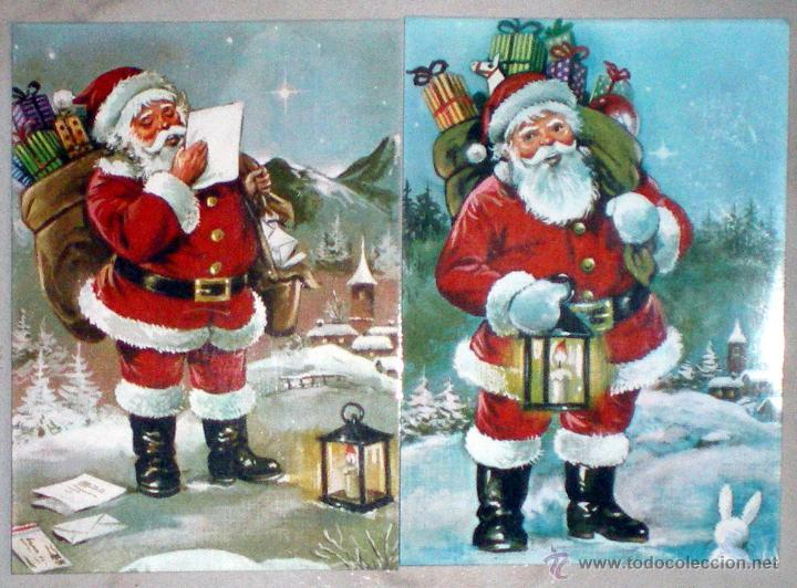 2 POSTALES 572/1 Y 572/2 PERLA PROCESO PAGSA 1982 PAPA NOEL SANTA CLAUS NUEVAS (Postales - Postales Temáticas - Navidad)