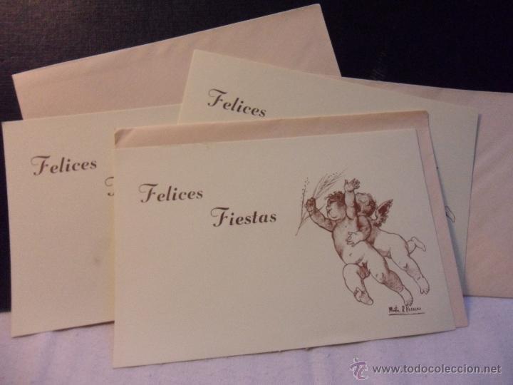 FELICES FIESTAS. LOTE DE 3 POSTALES IGUALES CON DIBUJO DE MARTA R. HERRERO. (Postales - Postales Temáticas - Navidad)
