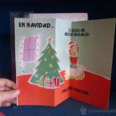 Postales: POSTAL NAVIDEÑA TROQUELADA Y PLAGADA DE LOS AÑOS 80, SIN CIRCULAR Y CON SOBRE CON UNAS MEDIDAS DE 26. Lote 46129497