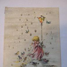 Postales: TARJETA DOBLE - FELICITACION NAVIDAD - 1966 - ESCRITA - 14X10 - CON BRILLANTINA. Lote 48605651