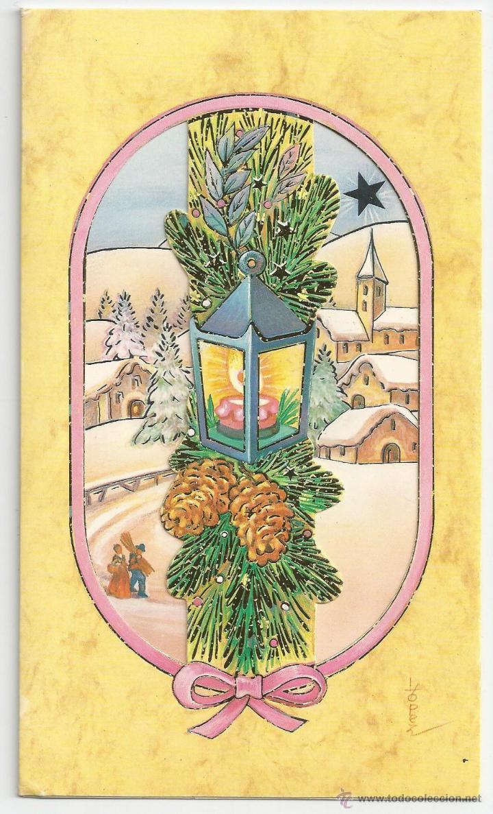 FELICITACION NAVIDAD *LÓPEZ* - VENTANA TROQUELADA - 18,5 X 11 CM (Postales - Postales Temáticas - Navidad)
