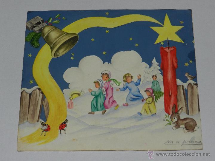 Felicitacion Navidad Original Dibujada Por Ma Comprar Postales - Dibujos-originales-de-navidad