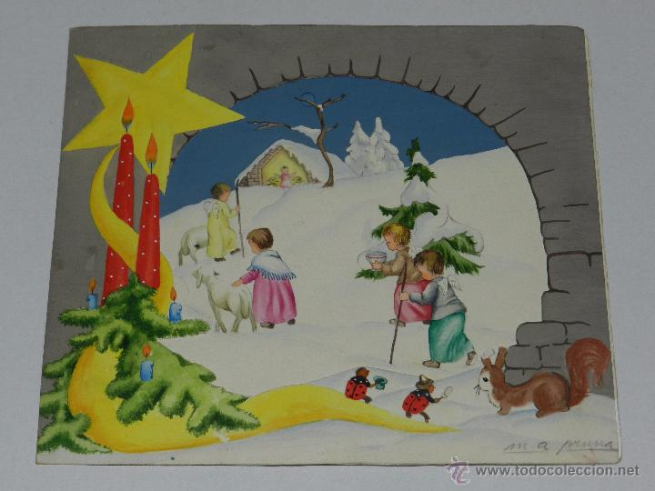 Felicitacion navidad original dibujada por m a comprar - Postal navidad original ...