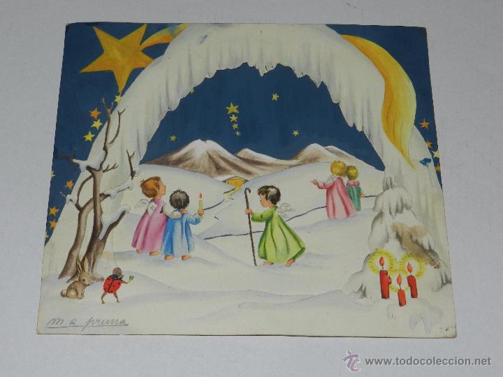 Felicitacion navidad dibujada por m a pruna d comprar - Postal navidad original ...