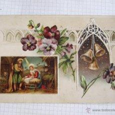 Postales: POSTAL - TARJETA NAVIDEÑA - RELIEVES - CIRCULADA - MATASELLOS MADRID 1911 . Lote 51381131