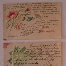 Postales: TRES POSTALES: FELIZ AÑO NUEVO 1904, 1905 Y 1906. Lote 51646895