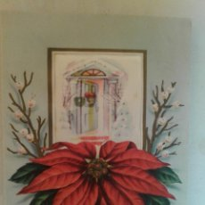 Postales: ANTIGUA POSTAL TROQUELADA SEDA PINTADA FLOR DE PASCUA RELIEVE NAVIDAD 1948 ED DIAMOND LINE U.S.A. Lote 51772565