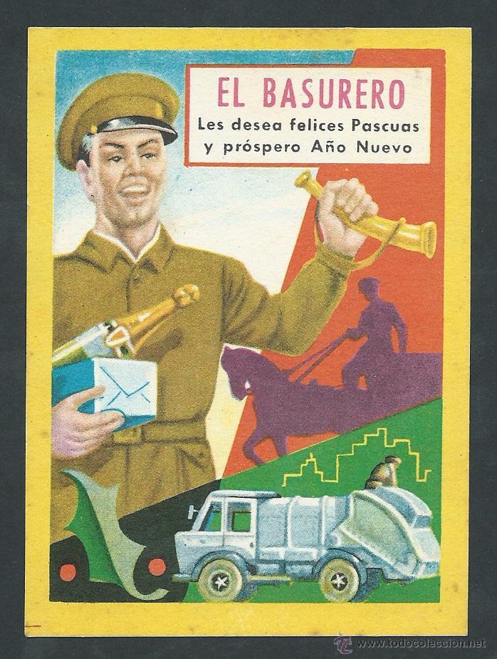 ANTIGUA POSTAL FELICITACION NAVIDEÑA EL BASURERO AÑO 1958 (Postales - Postales Temáticas - Navidad)