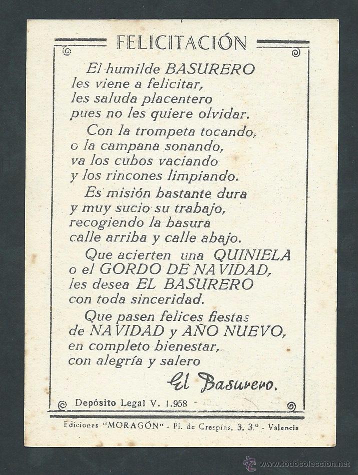 Postales: antigua postal felicitacion navideña el basurero año 1958 - Foto 2 - 36927587