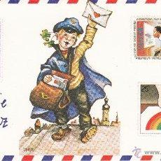 Postales: POSTAL NAVIDAD - FELICITACION NAVIDEÑA DOBLE - PINTADO CON LA BOCA - ED ARTIS MUTI - NUEVA SIN USAR . Lote 52507572