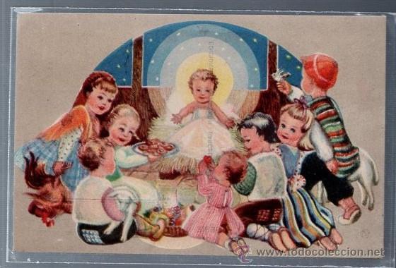 TARJETA POSTAL ESPECIAL. NAVIDAD. NIÑOS CON REGALOS EN EL PESEBRE DEL NIÑO JESUS. SERIE 9. (Postales - Postales Temáticas - Navidad)