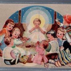 Postales: TARJETA POSTAL ESPECIAL. NAVIDAD. NIÑOS CON REGALOS EN EL PESEBRE DEL NIÑO JESUS. SERIE 9.. Lote 52568221