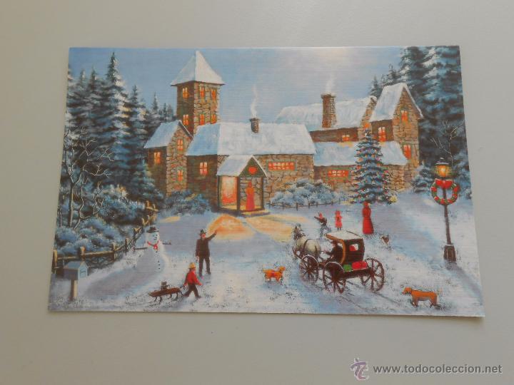 Postal pueblo en navidad original pintado por comprar - Postal navidad original ...