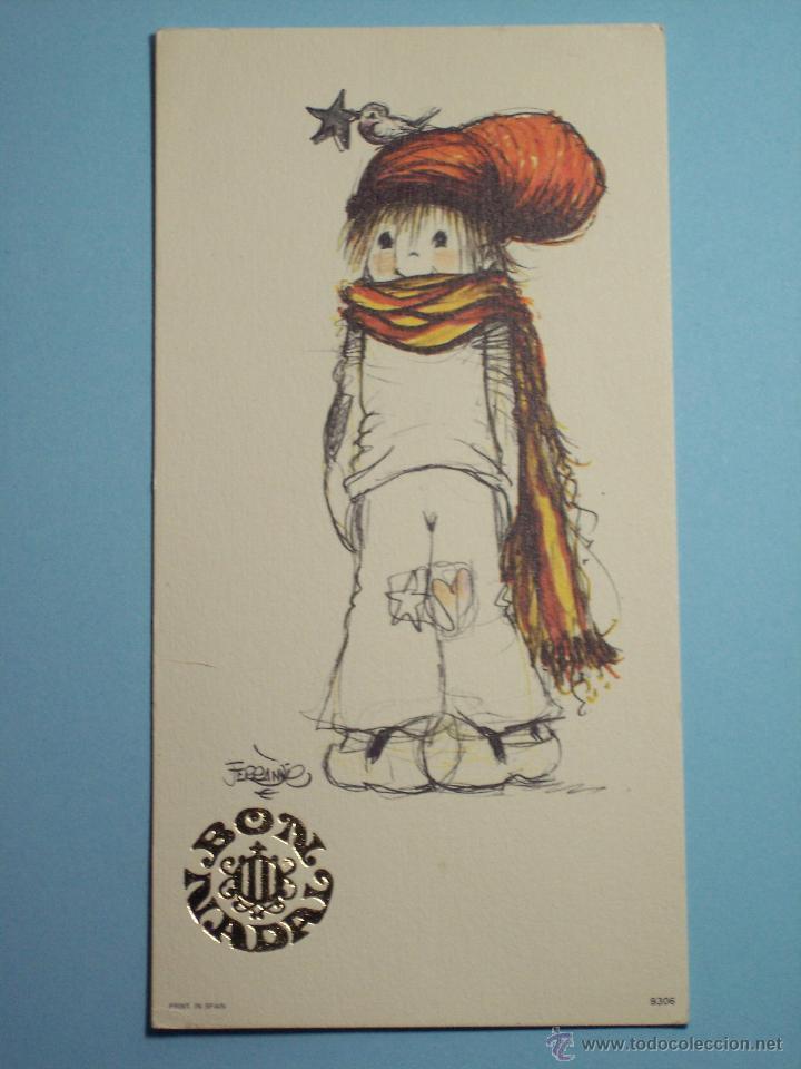 Postal De Navidad Bon Nadal Dibujo Ferrandiz Comprar Postales - Postales-navidad-dibujos