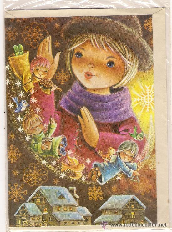 47600 postal de navidad dibujo ni os cantores comprar - Postal navidad original ...