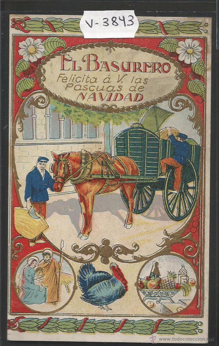 EL BASURERO - FELICITACION ANTIGUA - (V-3843) (Postales - Postales Temáticas - Navidad)