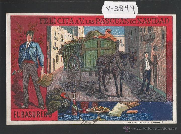 EL BASURERO - FELICITACION ANTIGUA - (V-3844) (Postales - Postales Temáticas - Navidad)