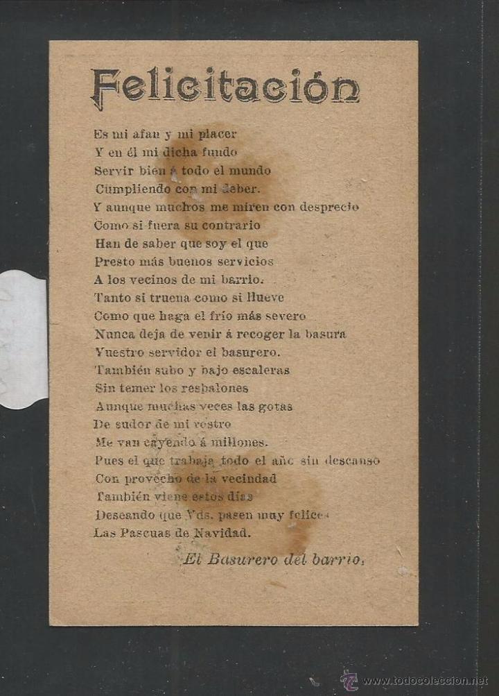 Postales: EL BASURERO - FELICITACION ANTIGUA - (V-3850) - Foto 2 - 53614312