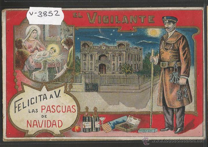 EL VIGILANTE - FELICITACION ANTIGUA - (V-3852) (Postales - Postales Temáticas - Navidad)