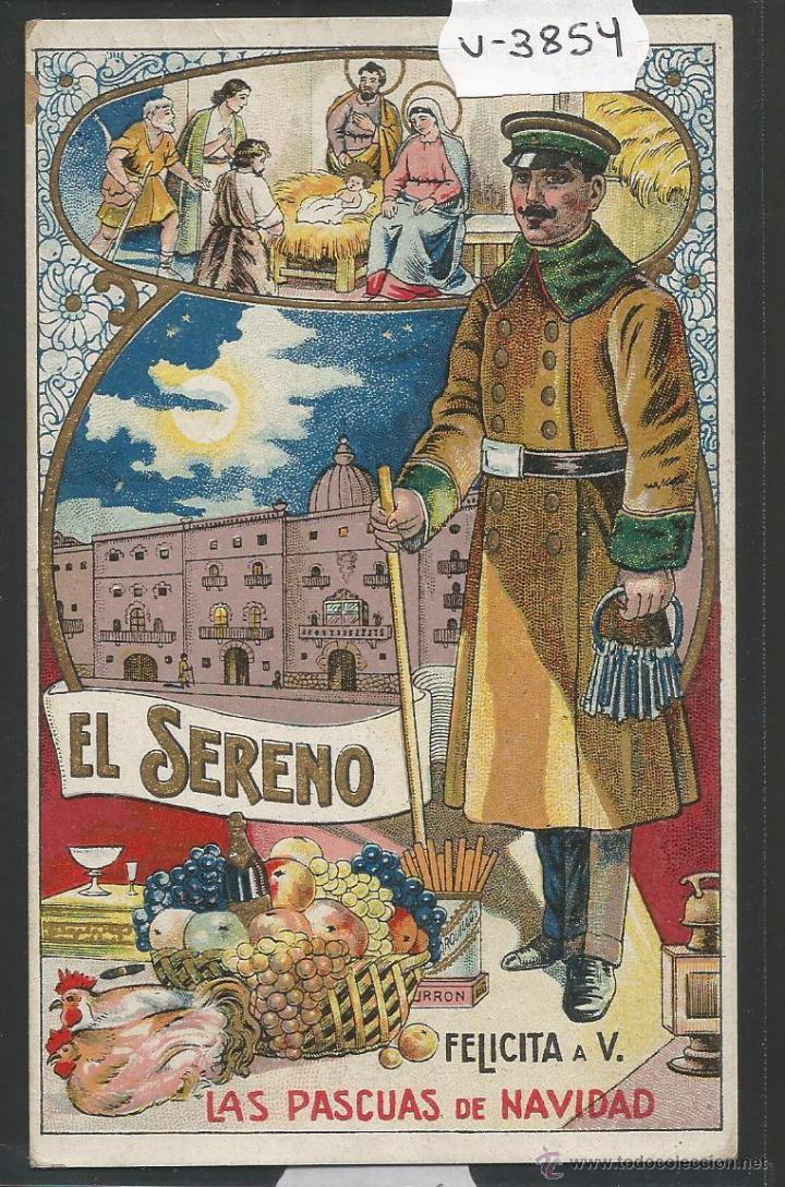 EL SERENO - FELICITACION ANTIGUA - (V-3854) (Postales - Postales Temáticas - Navidad)
