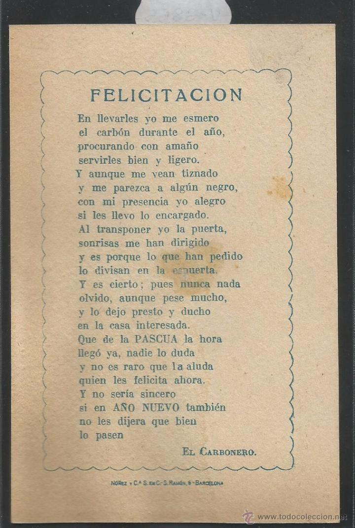 Postales: EL CARBONERO - FELICITACION ANTIGUA - (V-3855) - Foto 2 - 53614385