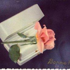 Postales: TARJETA CON FLORES FELICITANDO LAS NAVIDADES AÑOS 50 . Lote 53614702