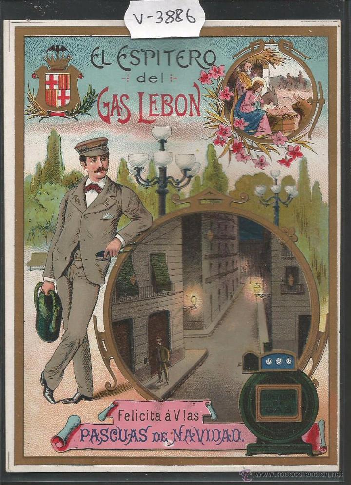 EL ESPITERO DEL GAS LEBON - FELICITACION ANTIGUA - (V-3886) (Postales - Postales Temáticas - Navidad)