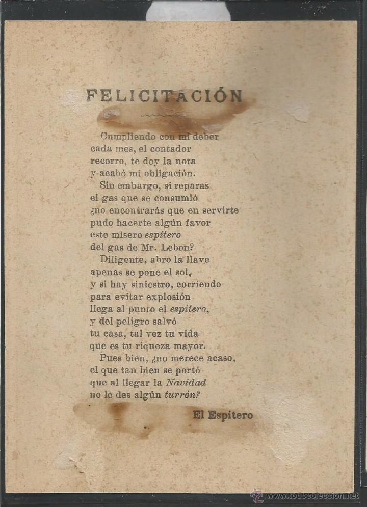 Postales: EL ESPITERO DEL GAS LEBON - FELICITACION ANTIGUA - (V-3886) - Foto 2 - 53614824