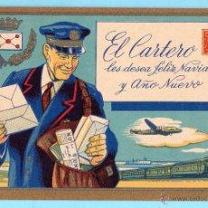 Postales: FELICITACIÓN NAVIDEÑA: EL CARTERO LES DESEA FELIZ NAVIDAD Y AÑO NUEVO, SIN FECHA.. Lote 205029097