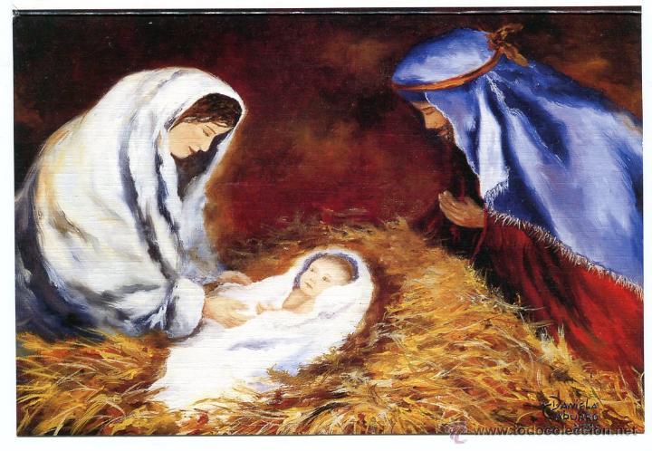 Imagenes Sagrada Familia Navidad.Postal Navidena La Sagrada Familia Asociacion De Pintores Con La Boca Y Con El Pie Sin Usar