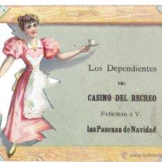 Postales: PS5859 GREMIOS. FELICITACIÓN NAVIDEÑA DEPENDIENTES CASINO DEL RECREO. BARCELONA. PRINC. S. XX. Lote 51536578
