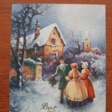 Postales: PRECIOSA ANTIGUA POSTAL A COLOR INGLESA CHRISTMAS – FELICITACION NAVIDAD CARTONE – MEDIDAS 9 X 12 CM. Lote 56705293