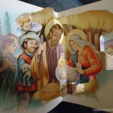 Postales: TARJETA POSTAL TROQUELADA TRES DIMENSIONES RELIEVE . NACIMIENTO PORTAL DE BELEN VIRGEN NIÑO JESUS ... Lote 58507962