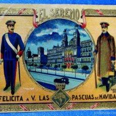 Postales: FELICITACIÓN NAVIDEÑA: EL SERENO FELICITA A V. LAS PASCUAS DE NAVIDAD, BARCELONA, HUGUET, 1924.. Lote 58607511